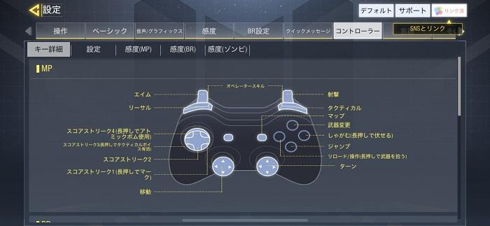 CodモバイルPS4コントローラーボタン詳細