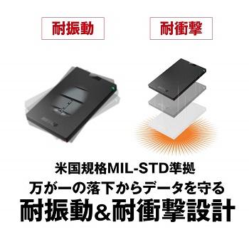 BUFFALO ポータブルSSD 耐振動&耐衝撃