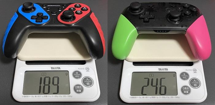BEBONCOOL NFC搭載スイッチコントローラーとプロコン重さ比較