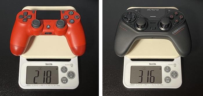 PS4コントローラーとC40の重さ比較
